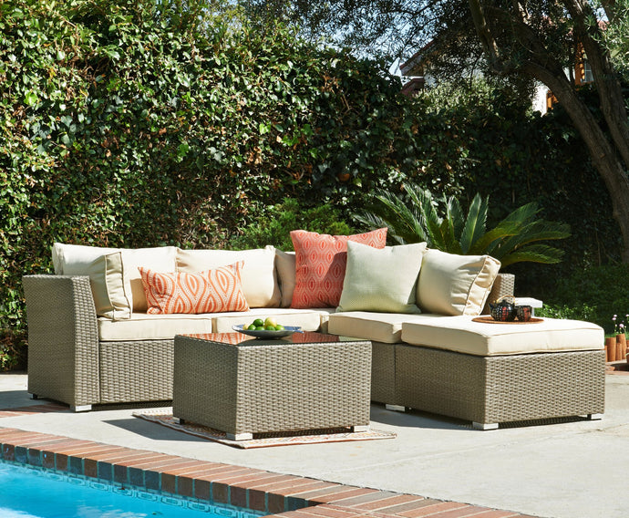 BAS-2513 Jicardo Outdoor Wicker Furniture Sectional Sofa Set in Beige and Light Brown Finish By The-Hom
