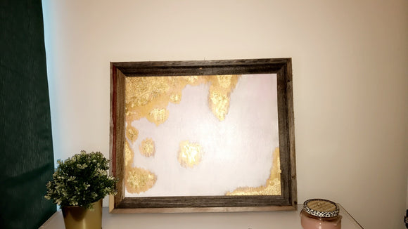 Gold Abstract Leaf Painting - Magnolia Doll
