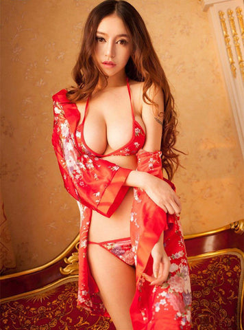 Japanese Kimono with T-Pants, Bra & Belt-Cupids Fantasy World