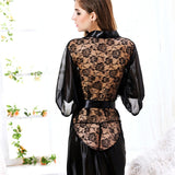 MUPLY New Hot Sexy Lingerie Plus Size Satin Lace Black Kimono Intimate Sleepwear Robe Sexy Night Gown Women Erotic Underwear-Cupids Fantasy World