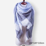 Evrfelan New Winter Scarf Fashion Women Scarf Luxury Plaid Cashmere Scarves Women Triangle Bandage Bufanda Wholesale 140*140*210