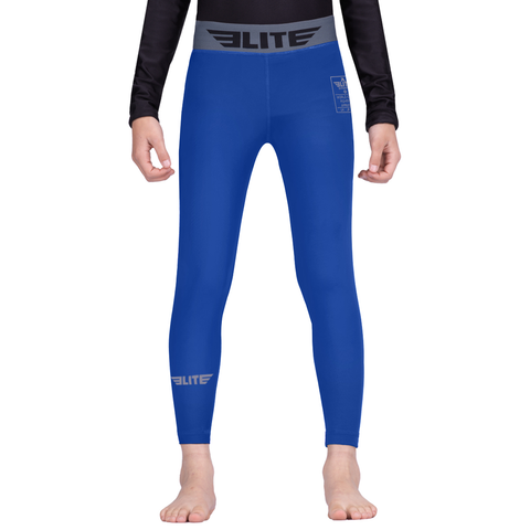 Elite Sports Blue Kids Compression Muay Thai Spat Pants