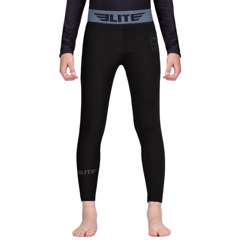 Elite Sports Black Kids Compression Boxing Spat Pants