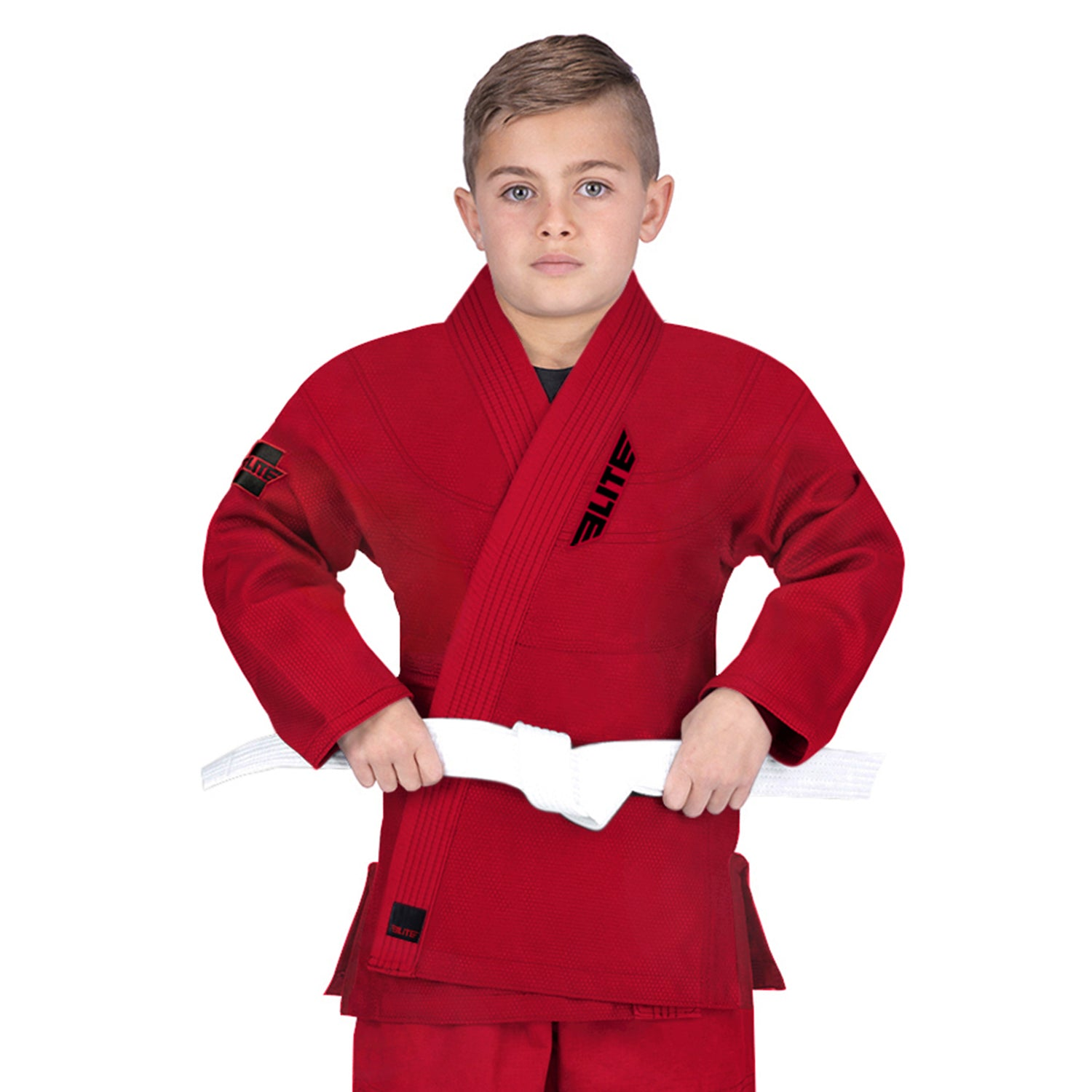 Elite Sports Ultra Light Preshrunk Red Kids Brazilian Jiu Jitsu BJJ Gi With Free White Belt