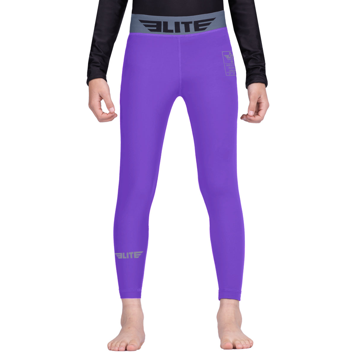 Elite Sports Purple Kids Compression Muay Thai Spat Pants