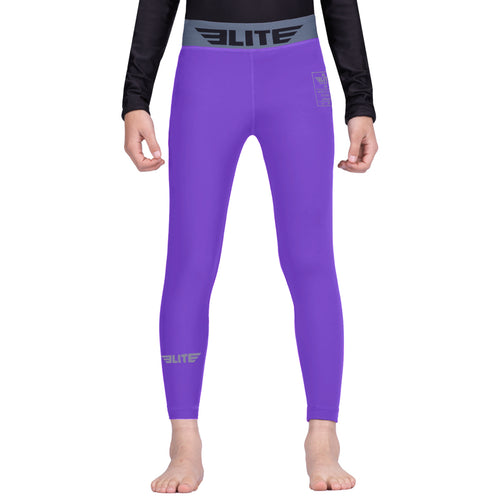 Elite Sports Purple Kids Compression MMA Spat Pants