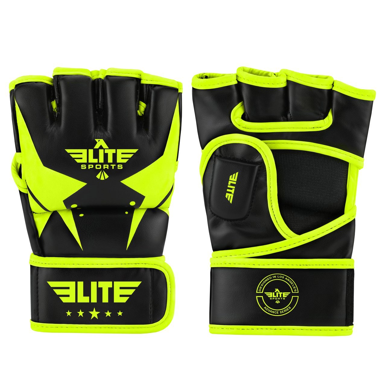 Load image into Gallery viewer, Elite Sports Pro Style Black/Hi-Viz MMA Half Mitts Grappling Gloves