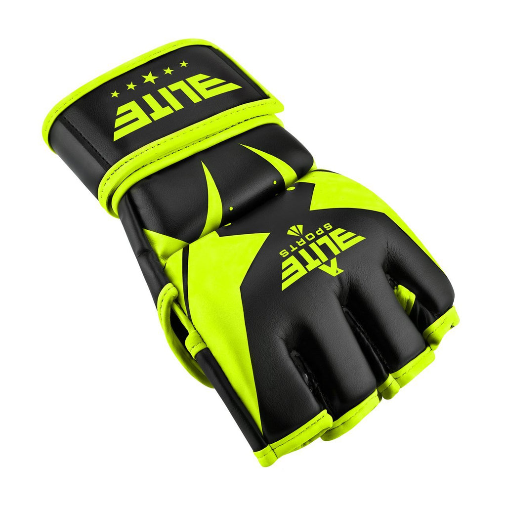 Elite Sports Pro Style Black/Hi-Viz MMA Half Mitts Grappling Gloves