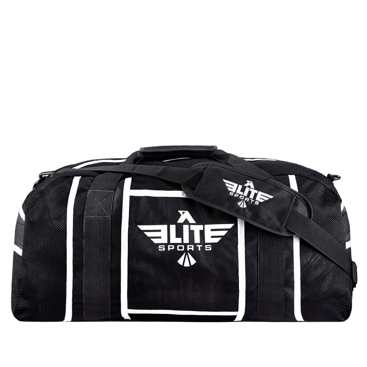 Load image into Gallery viewer, Elite Sports Warrior Series Black/White Strip Large Duffel Muay Thai Gear Gym Bag