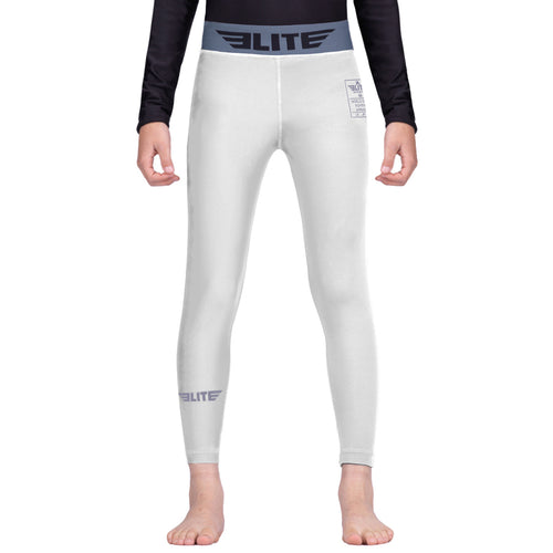 Elite Sports White Kids Compression Muay Thai Spat Pants