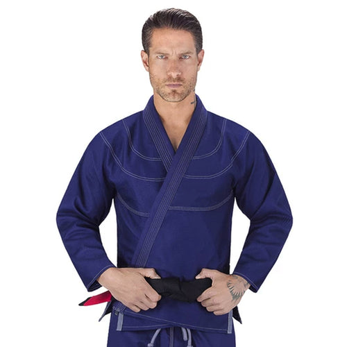 Elite Sports Essential Ultra Light Preshrunk Navy Adult Brazilian Jiu Jitsu BJJ Gi With Free White Belt