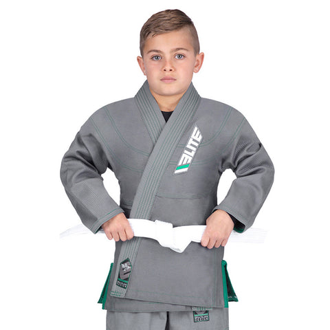 Elite Sports Ultra Light Preshrunk Gray Kids Brazilian Jiu Jitsu BJJ Gi With Free White Belt