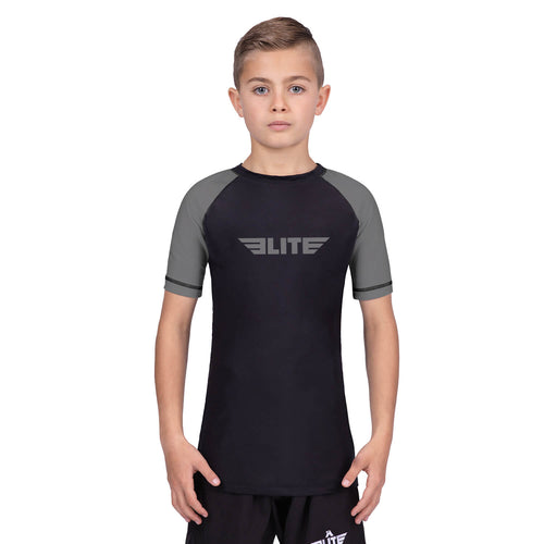 Elite Sports Standard Gray/Black Short Sleeve Kids boxing Rash Guard