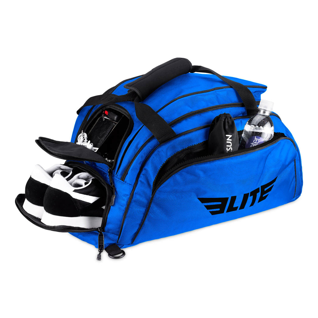 Elite Sports Warrior Series Large Blue Boxing MMA BJJ Gear Gym Duffel Bag & Backpack