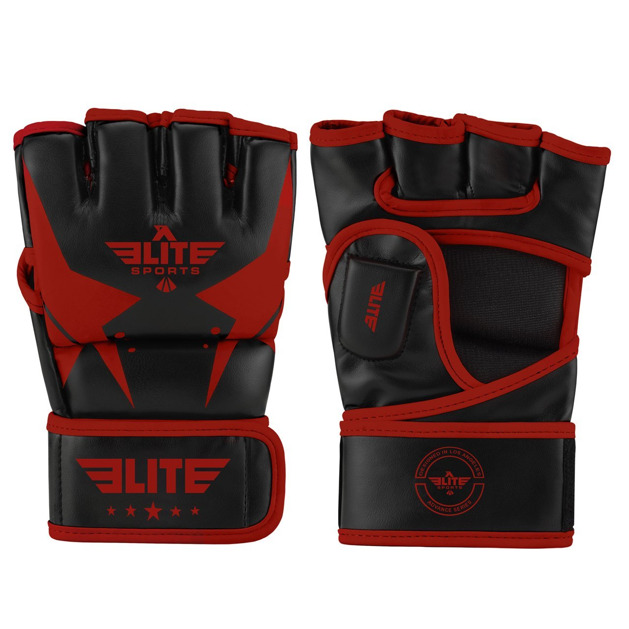 Elite Sports Pro Style Black/Red MMA Half Mitts Grappling Gloves