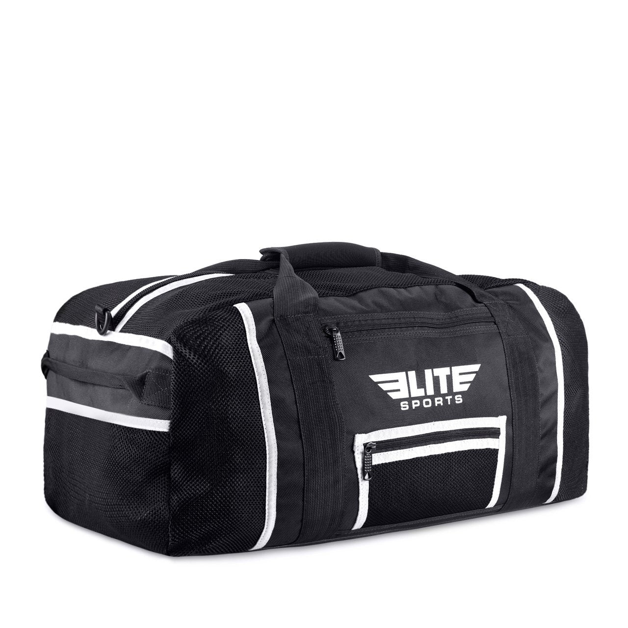 Load image into Gallery viewer, Elite Sports Warrior Series Black/White Strip Large Duffel Boxing Gear Gym Bag