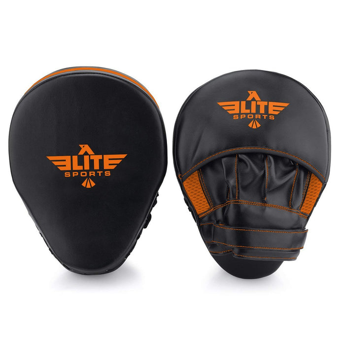 Elite Sports Essential Curved Black/Orange Muay Thai Punching Mitts