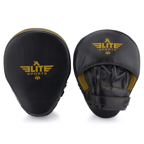 Elite Sports Essential Curved Black/Gold Boxing Punching Mitts