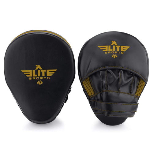 Elite Sports Essential Curved Black/Gold Muay Thai Punching Mitts