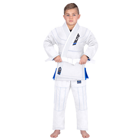Elite Sports Ultra Light Preshrunk White Kids Brazilian Jiu Jitsu BJJ Gi With Free White Belt