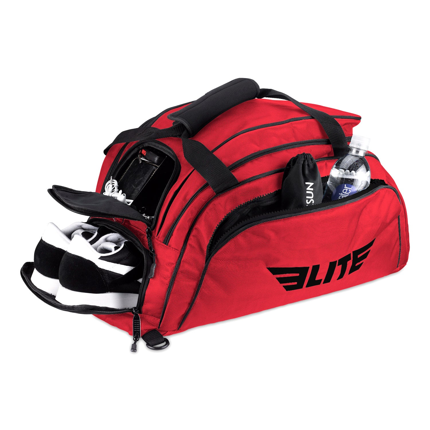 Load image into Gallery viewer, Elite Sports Warrior Series Red Medium Duffel Boxing Gear Gym Bag & Backpack