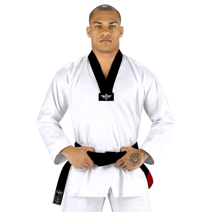 Elite Sports Ultra Light Preshrunk Black/White Adult Taekwondo - TKD Gi