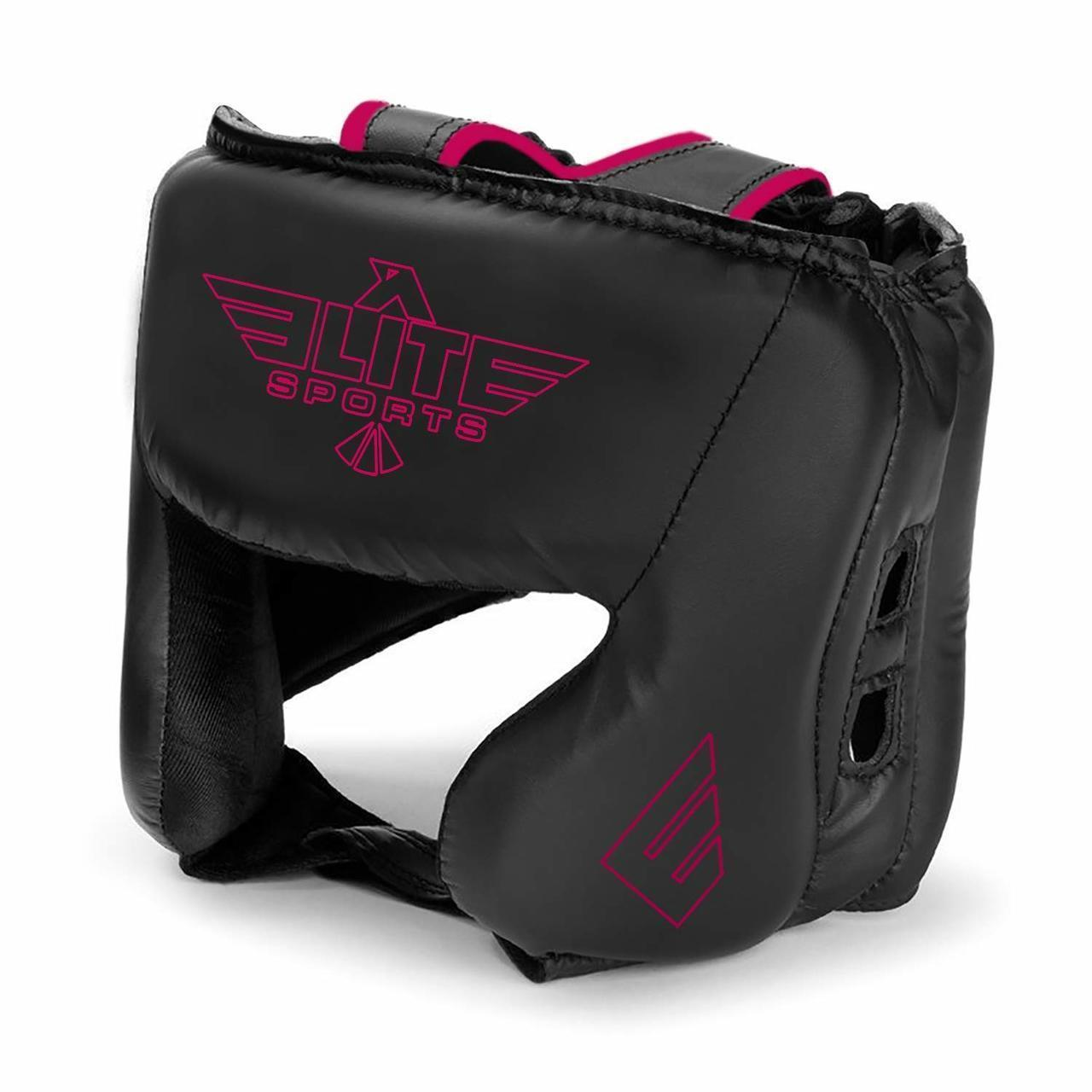 Load image into Gallery viewer, Elite Sports Standard Series Sparring Black/Pink Boxing Headgear