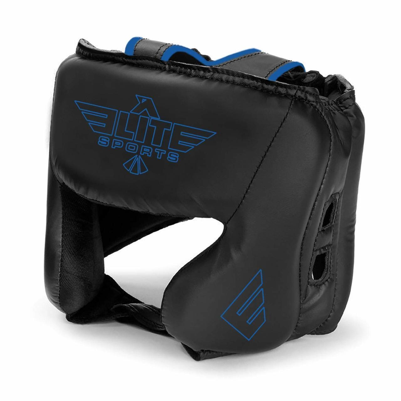 Load image into Gallery viewer, Elite Sports Standard Series Sparring Black/Blue Boxing Headgear