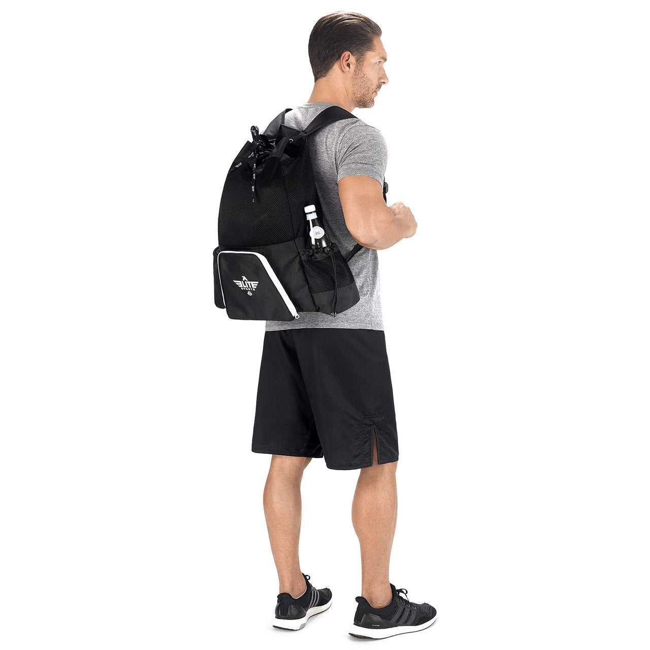 Load image into Gallery viewer, Elite Sports Mesh Black Medium Karate Gear Gym Bag & Backpack