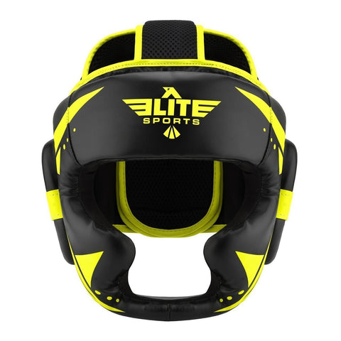 Elite Sports Star Series Sparring Black/Hi Viz Boxing Headgear