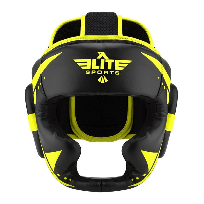 Elite Sports Star Series Sparring Black/Hi Viz BJJ Headgear