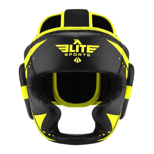 Elite Sports Star Series Sparring Black/Hi Viz Muay Thai Headgear