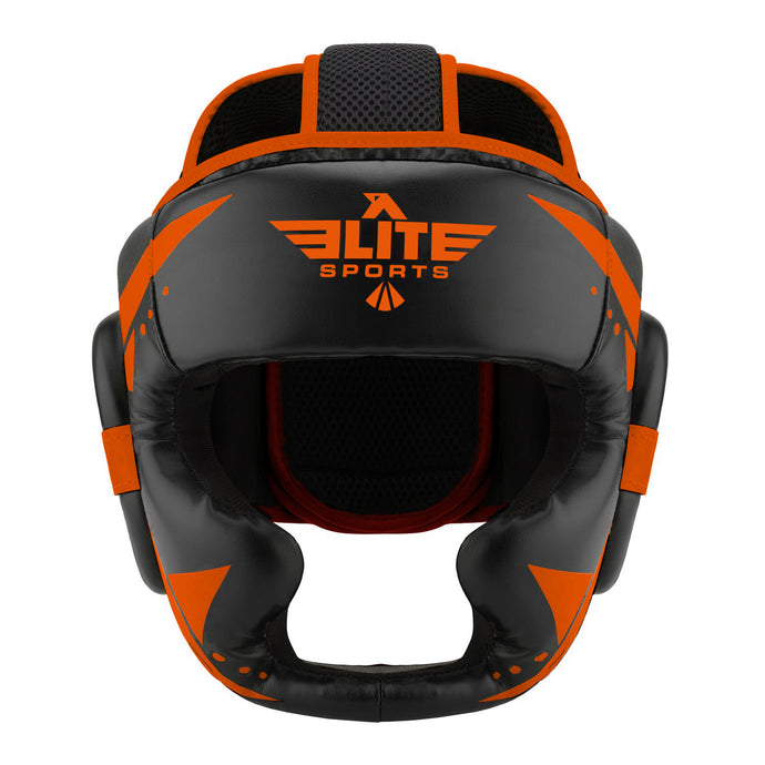 Elite Sports Star Series Sparring Black/Orange Muay Thai Headgear