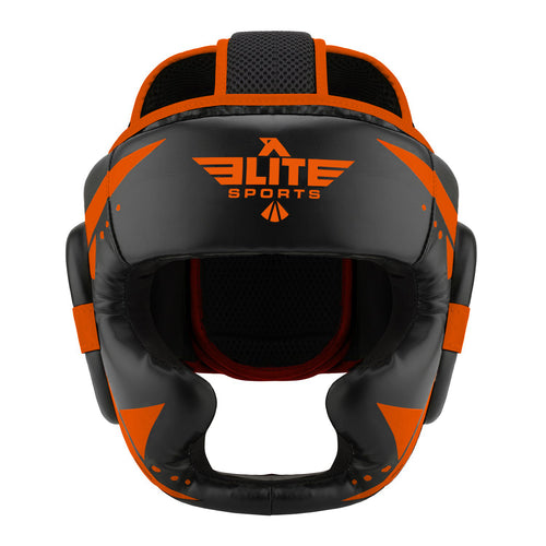Elite Sports Star Series Sparring Black/Orange MMA Headgear