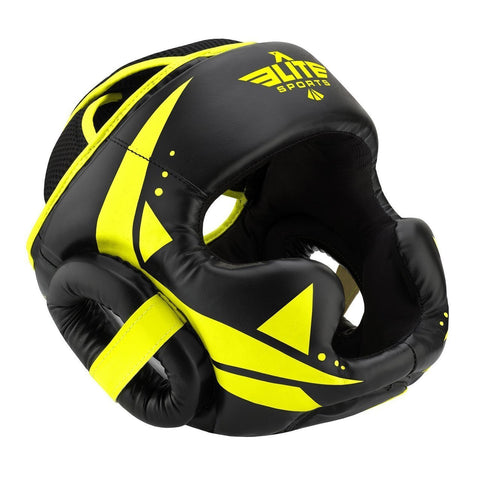 Elite Sports Star Series Sparring Black/Hi Viz MMA Headgear