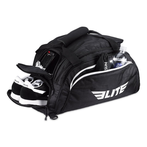 Elite Sports Warrior Series Black Medium Duffel MMA Gear Gym Bag & Backpack