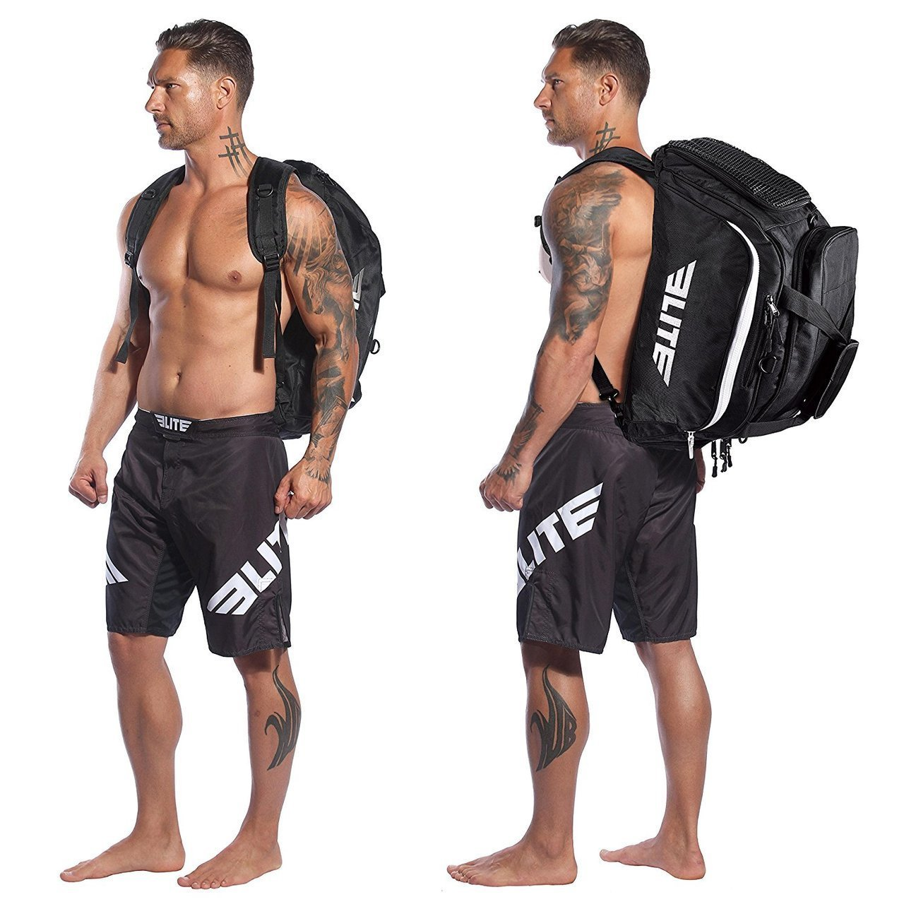Load image into Gallery viewer, Elite Sports Warrior Series Black Medium Duffel Brazilian Jiu Jitsu BJJ Gear Gym Bag & Backpack