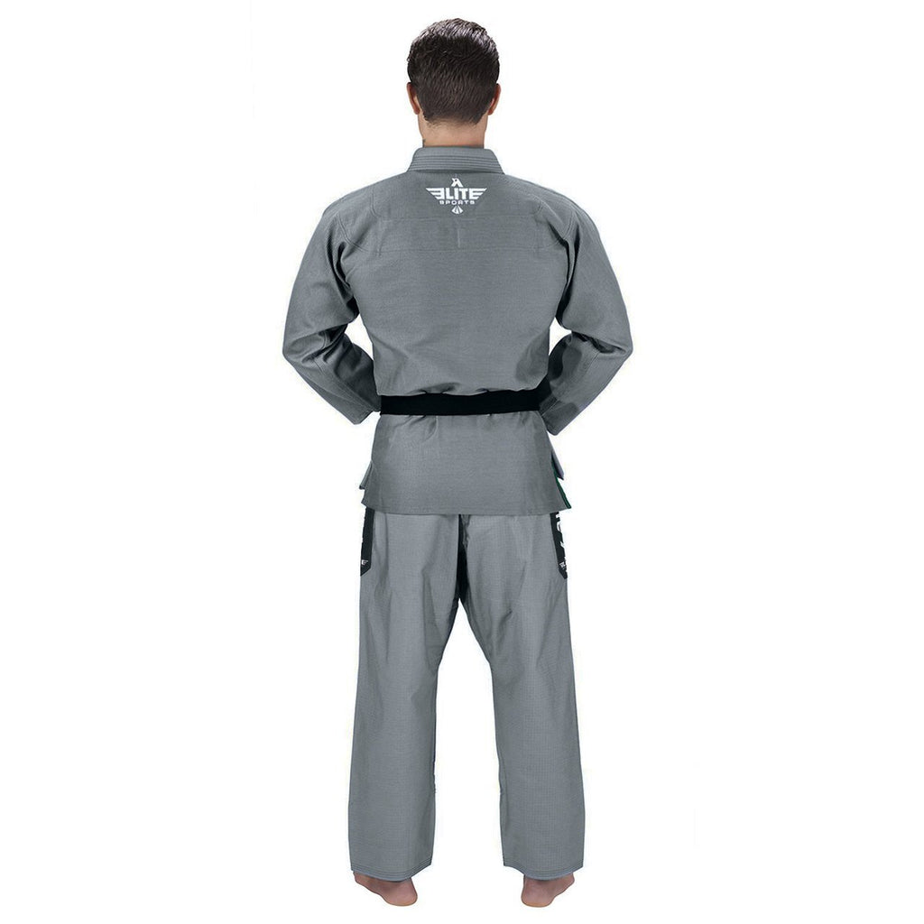 Elite Sports Ultra Light Preshrunk Gray Adult Brazilian Jiu Jitsu BJJ Gi With Free White Belt