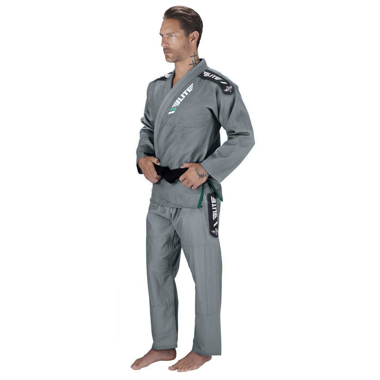 Load image into Gallery viewer, Elite Sports Ultra Light Preshrunk Gray Adult Brazilian Jiu Jitsu BJJ Gi With Free White Belt