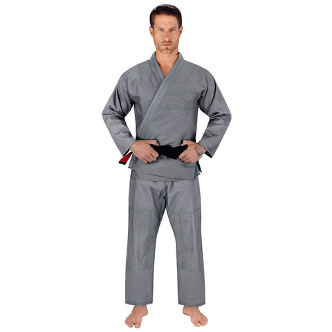 Elite Sports Essential Ultra Light Preshrunk Gray Adult Brazilian Jiu Jitsu BJJ Gi With Free White Belt
