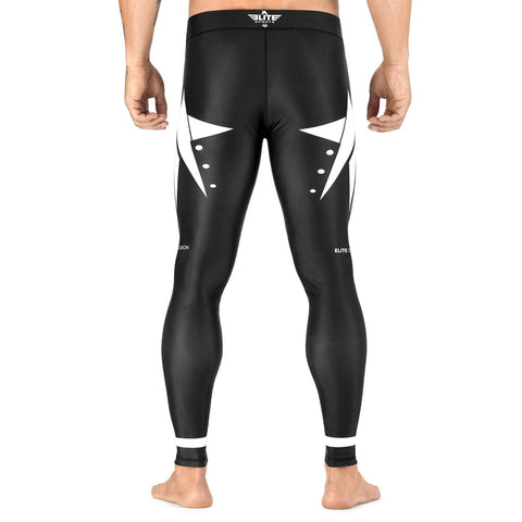 Elite Sports Star Series Black/White Advance Compression MMA Spat Pants