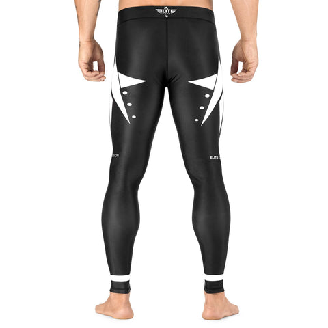 Elite Sports Star Series Black/White Advance Compression Boxing Spat Pants
