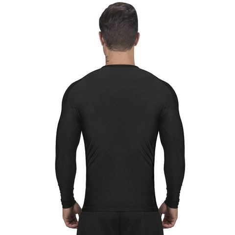 Elite Sports Standard Black Long Sleeve Brazilian Jiu Jitsu BJJ Rash Guard