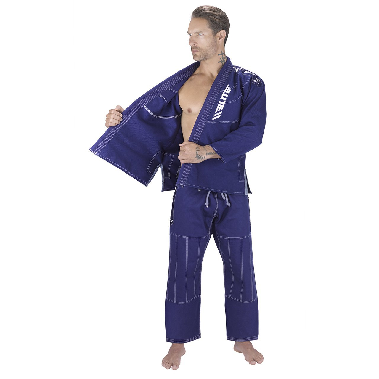 Load image into Gallery viewer, Elite Sports Ultra Light Preshrunk Navy Adult Brazilian Jiu Jitsu BJJ Gi With Free White Belt