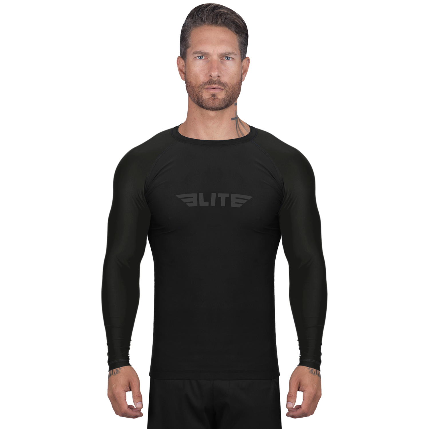 Elite Sports Standard Black Long Sleeve Muay Thai Rash Guard