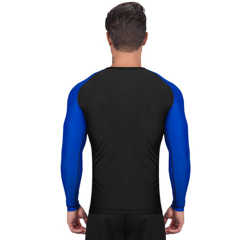 Elite Sports Standard Black/Blue Long Sleeve Judo Rash Guard