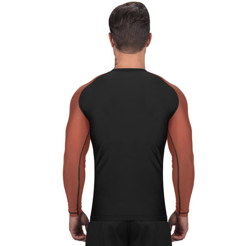 Elite Sports Standard Black/Brown Long Sleeve MMA Rash Guard