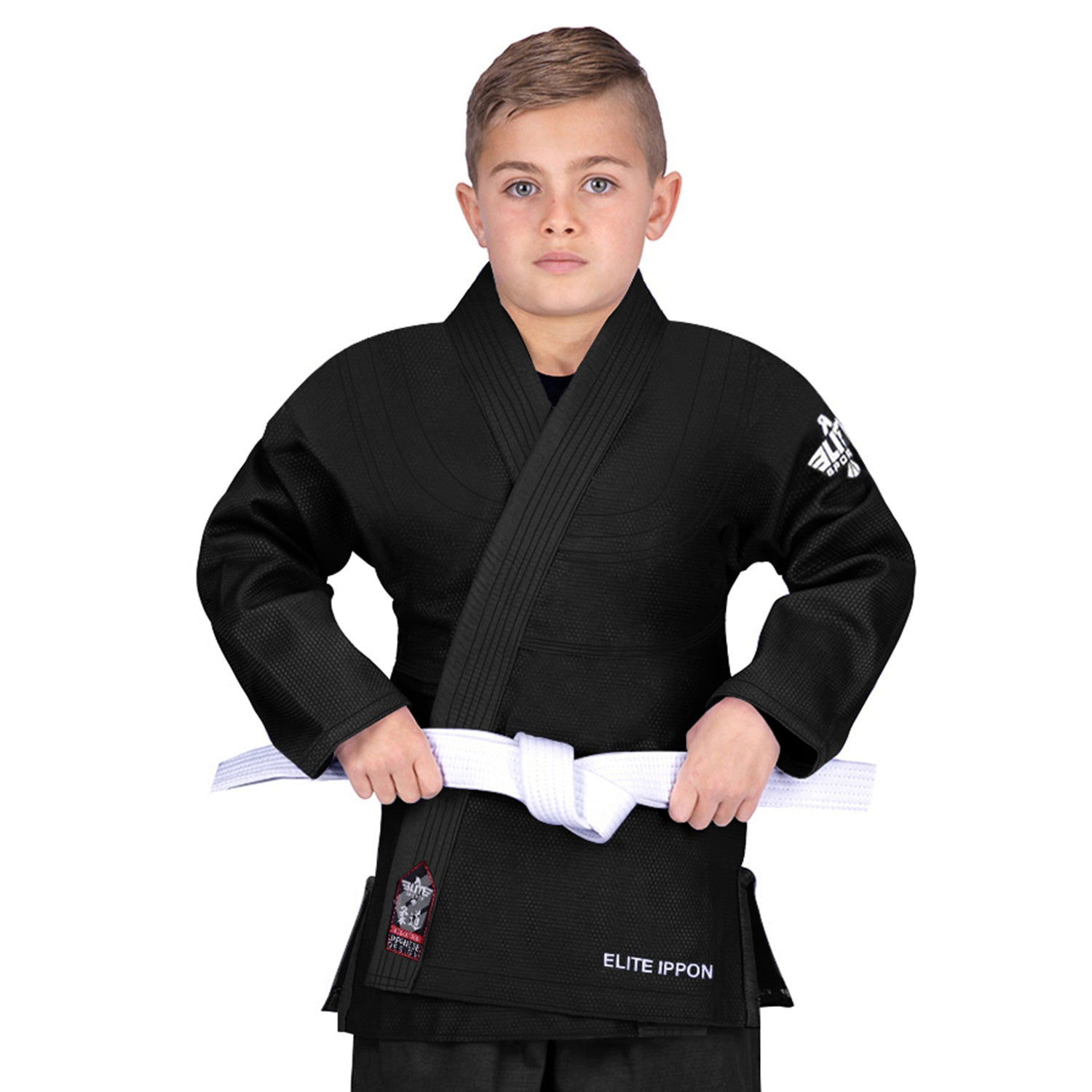 Elite Sports Ultra Light Preshrunk Black Kids Judo Gi