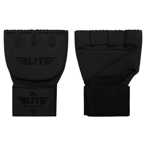Elite Sports Black Cross Muay Thai Quick Gel Hand Wraps