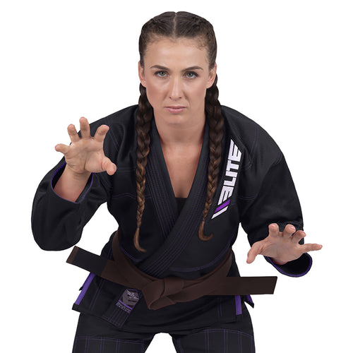 Elite Sports Ultra Light Preshrunk Black Women Brazilian Jiu Jitsu BJJ Gi With Free White Belt